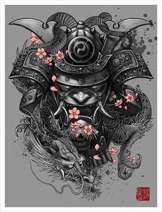 """Dragon Samurai"" Art Print by Elvin Tattoo on Artsider. Get the poster for… Asia Tattoo, Tattoo On, Body Art Tattoos, New Tattoos, Tattoos For Guys, Cool Tattoos, Awesome Tattoos, Tattoo Thigh, Tatoos"