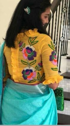 New Saree Blouse Designs, Blouse Designs Catalogue, Simple Blouse Designs, Stylish Blouse Design, Bridal Blouse Designs, Designer Blouse Patterns, Kurti Designs Party Wear, Yellow Blouse, Designer Sarees