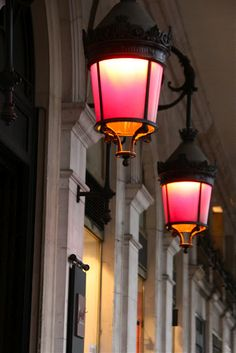A burst of pink in traditional French lanterns, on the Rue de Rivoli in Paris.