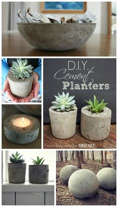 DIY cement planters, candle holders and garden balls.