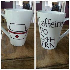 Custom Coffee Mug. Nurse's mug. by LoveItGetItGotIt on Etsy, $13.50 There's one with a stethoscope too!
