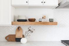 White Herringbone Tiles Kitchen | Fireclay Tile | Fireclay Tile Open Kitchen Cabinets, Kitchen Shelves, Kitchen Tiles, Kitchen Sink, Kitchen Design, Herringbone Tile Pattern, Fireclay Tile, Kitchen Colour Schemes, Color Schemes