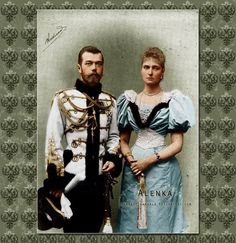 Colored photograph by artist Marie Velkoknezna. Tsar Nicholas II Alexandrovich Romanova of Russia (1868-1918) with his wife Empress Alexandra Fyodorovna, nee Princess Alix of Hesse-Darmstadt (1862-1918) in time of their engagement, year 1894.