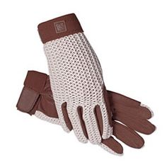 Ladies Equestrian Riding Gloves, Brand New Brand New! SSG Lycrochet Ultraflex Crochet Riding Gloves are classic schooling gloves with sturdy, yet stretchy crocheted back panels and pigskin palms perfect for daily wear. Chocolate brown/Neutral. Size 6 is a womens small.  -Cool crochet back for comfort and style  -Hook and Loop Wrist Adjustment  -Pigskin palm is soft, flexible and ultra-breathable SSG Accessories Gloves & Mittens
