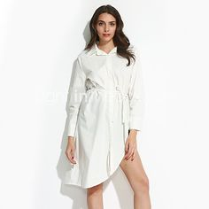 Women's Plus Size / Casual/Daily Street chic Shirt DressSolid Shirt Collar Asymmetrical Long Sleeve White / RayonFall - USD $12.99 ! HOT Product! A hot product at an incredible low price is now on sale! Come check it out along with other items like this. Get great discounts, earn Rewards and much more each time you shop with us!