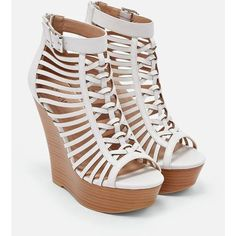 Justfab Wedges Suzie ($40) ❤ liked on Polyvore featuring shoes, heels, white, zip shoes, platform wedge shoes, cage shoes, high heel platform shoes and synthetic leather shoes