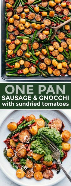 One pan and only EIGHT ingredients to make this flavor-packed and nutritious sau. - One pan and only EIGHT ingredients to make this flavor-packed and nutritious sausage pesto and vegg - Sundried Tomato Recipes, Sundried Tomato Chicken, Chicken Sausage Recipes, Veggie Sausage, Veggie Gnocchi Recipes, Gnocchi Pesto, Healthy Dinner Recipes, Cooking Recipes, Sheet Pan Suppers
