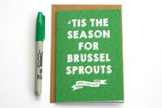 Brussel Sprouts Christmas Card - Funny Xmas Card - Typographic Christmas Card - Funny Christmas Card - Brussel Sprouts Card - Funny Card