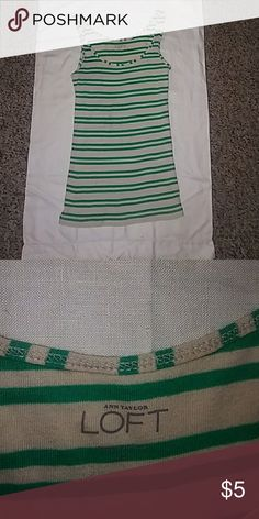 XS LOFT tank Cream colored xs tank top with green stripes. Barely worn, EUC. fitted, scoop neck, thin but not spaghetti straps. Smoke free pet free home Feel free to bundle with anything else in my closet for a really good deal & to save on shipping! LOFT Tops Tank Tops