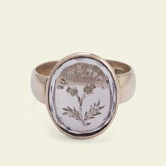 "Scottish Double Thistle ""Fair ta ye"" Amethyst Intaglio Ring"