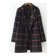 SheIn(sheinside) Navy Red Lapel Plaid Double Breasted Coat ($30) ❤ liked on Polyvore featuring outerwear, coats, navy, navy blue wool coat, woolen coat, double-breasted wool coat, long coat and plaid coat