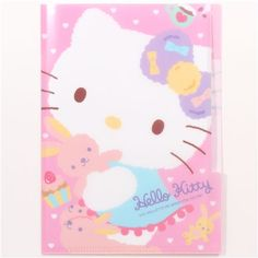 pink Hello Kitty cat A5 mini plastic file folder 3-pocket