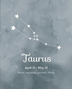 Taurus ~ patient, dependable, persistent, reliable