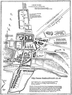 Stukeley's Map of Lincolnoriginally from Itinerarium Curiosum , as reproduced in Kendrick's Lincoln Cathedral, with Kendrick's annotations. Lincoln England, Lincoln Castle, Lincoln Cathedral, Local History, Great Britain, New York City, Maps, New York, Blue Prints
