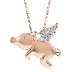 Flying Pig Pendant (1/10 cttw, I J Color, I3 Clarity), 18 Jewelry