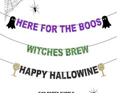 Here for the BOOS Banner, Happy Hallowine Banner, Witches Brew Banner, Naughty Halloween Party, Adult Halloween Banner Halloween Balloons, Halloween Banner, Adult Halloween, Outdoor Halloween, Halloween Party, Halloween Decorations, Bachelor Wedding, Bachelorette Party Decorations, Witches Brew