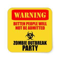 Zombie Warning Outbreak Party Sticker