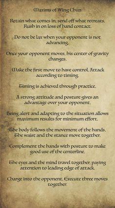 Wing Chun Maxims #martialarts #martial #arts #men Martial Arts Quotes, Martial Arts Workout, Taekwondo, Kung Fu, Bruce Lee Wing Chun, Wing Chun Dummy, Wing Chun Training, Wing Chun Martial Arts, Wooden Dummy