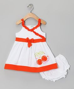 Take a look at this Orange Cherry Dress & Diaper Cover - Infant by Littoe Potatoes on #zulily today!