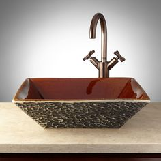 Borawli+Hand-Glazed+Pottery+Vessel+Sink+-+Charcoal+Gray