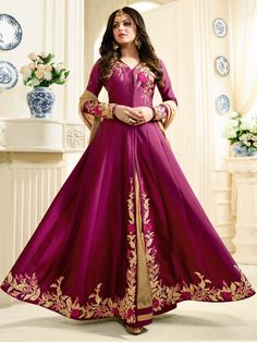 Shop Drashti Dhami magenta color silk party wear anarkali kameez online at kollybollyethnics from India with free worldwide shipping.