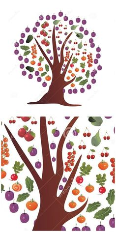 with fruits and (tomato cherry truss tomatoes green pepper radish salad apple pear plum and cherries) on a white background and with plum framed treetop - useful for stationery packaging Fruit Decoration For Party, Fruit Decorations, Best Fruit Salad, New Fruit, Fruit Display Wedding, Salad Presentation, Fruit Logo, Fruit Packaging, Radish Salad