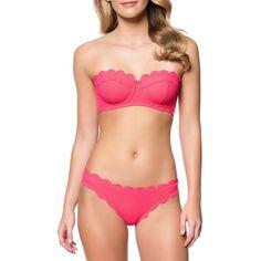 Jessica Simpson Under the Sea Scalloped Edge Bandeau Bikini Top (£48) ❤ liked on Polyvore featuring swimwear, bikinis, bikini tops, cherry, bandeau top bikini, cherry bikini, jessica simpson bikini, scalloped bikini and scalloped bikini top