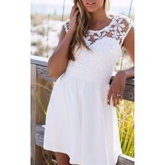 SheIn(sheinside) White Lace Insert Hollow A-Line Dress ($18) ❤ liked on Polyvore featuring dresses, white, white summer dresses, white sleeve dress, summer beach dresses, white peasant dress and short summer dresses