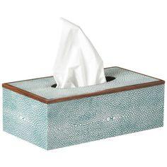 OKA Faux Shagreen Tissue Box Holder (690 CNY) ❤ liked on Polyvore featuring home, bed & bath, bath, bath accessories, decor, accessories, filler, kylpyhuoneen tarvikkeet, azure and oka