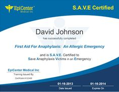 Epipentraining.com. Online training for identifing Anaphylaxis and how to use an epipen.  Sharing with everyone!