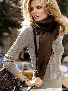 Louis Vuitton. Love the scarf.