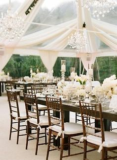 {Upscale Tent + Sparkling Chandeliers}