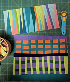 A Quilter's Table: Maximalist Improv Mini Quilts, Small Quilts, Quilting Tutorials, Quilting Projects, Quilting Designs, Modern Quilt Blocks, Modern Quilt Patterns, Loom Patterns, Quilt Inspiration