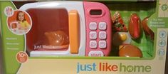 Kids' Cooking Appliances - Just Like Home Microwave  Pink  Real Working Count Down Food Buttons Real Rotating Microwave Plate Beeps When Food Is Done >>> Learn more by visiting the image link.