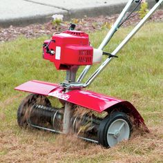 """Are weeds and crab grass a problem for you? Then you need this attachment! Quickly removes weeds and the tan-looking built-up """"thatch"""" that can choke your l Large Table Lamps, Table Lamp Wood, Lawn Problems, Bermuda Grass, Decorative Floor Lamps, Root System, Lawn Dethatcher, Spring Steel, Oil Lamps"""
