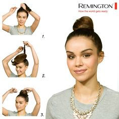 Get those sparks flying with this knock out hairstyle for Bonfire night and the best part is it's totally wind proof!  1. Tighten your hair into a ponytail and secure in place with a hair tie. 2. Back comb the hair in sections to give the hair extra texture. 3. Twist the pony tail in a clockwise direction and secure with pins. Back Combing, Messy Bun Hairstyles, Bonfire Night, Hair Ties, Ponytail, Texture, Beauty, Ribbon Hair Ties, Surface Finish