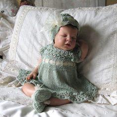 Newborn Baby Lace Crochet Dress Hat and Ballet by MaisondeTerre, $75.00