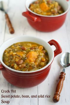 Sweet potato, bean, and wild rice soup made in the crock pot. Yes please!! Use veggie broth for #vegan