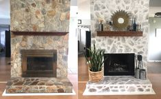 Our Fireplace Makeover Rustic white washed fireplace makeover tutorial Painted Stone Fireplace, White Wash Fireplace, Stone Fireplace Makeover, Fireplace Update, Paint Fireplace, Old Fireplace, Rustic Fireplaces, Farmhouse Fireplace, Fireplace Remodel