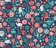 Oldschool Ornaments fabric & gift wrap by christinewitte on Spoonflower Fabric Patterns, Print Patterns, Christmas Fabric, Christmas Patterns, Vintage Christmas, Kitsch Decor, Christmas Graphics, Christmas Illustration, Spoonflower Fabric