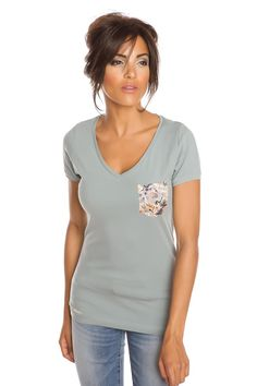 T-shirt femme T-FLOWERS et VERT PASTEL Vert pastel