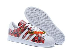Adidas Originals Superstar - Chaussures Adidas Running Pas Cher Pour Homme/Femme Nigo Allover Print Scarlet/Blanche/Bleubird S83388