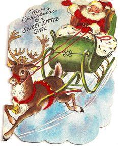 Vintage Christmas Card..yes , Santa is here