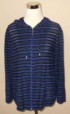 Chico's 3 Black Blue Zip Up Hooded Jacket Women's Size 16 L Large | eBay