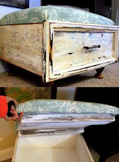 DIY- ottoman- converted drawer with feet and removable padded top. Storage and function!