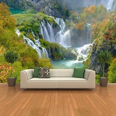 azutura Croatia Waterfall Wall Mural Green Landscape Photo Wallpaper Bedroom Home Decor Available in 8 Sizes Gigantic Digital 3d Wallpaper Ceiling, Ceiling Murals, 3d Wall Murals, Floor Murals, Wallpaper Decor, Photo Wallpaper, 3d Wallpaper Living Room, Photo Mural, Living Room Designs
