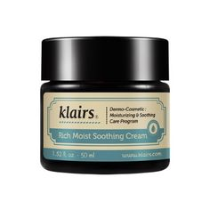 Klairs Klairs  Soothing Cream: Formulated with yeast-derived beta glucan which supports your skin's cell regenerative abilities, this super potent facial cream provides immediate and deep hydration for parched skin. Suitable for all skin types, especially dry, sensitive skin.