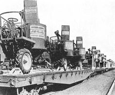 "A photo from the April 1944 issue of Farm Machinery and Equipment magazine shows a trainload of Massey-Harris self-propelled combines ""On their Way to the Farm Front."""