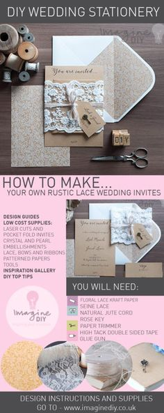 How to diy pocket invitations the easy way pinterest free rustic kraft and lace wedding invitations stopboris Image collections