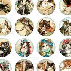 vintage cats Bottle Cap Jewelry, Bottle Cap Art, Bottle Cap Images, Vintage Cat, Vintage Labels, Vintage Pictures, Vintage Images, Image Chat, Collage Sheet
